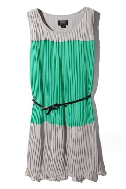 Color Block Grey-green Dress