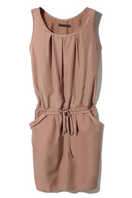Casual Style Drawstring Coffee Dress