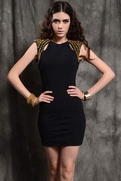 Rivets Shoulder Over Hip Black Dress