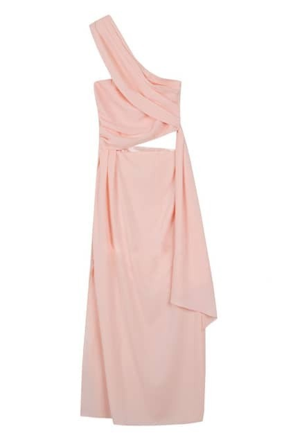 Exotic Style One Shoulder Pink Dress