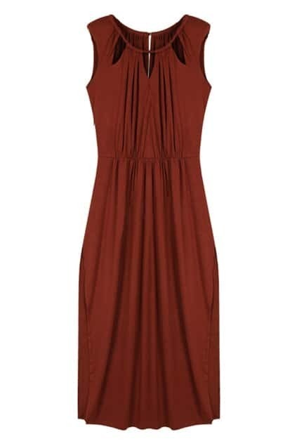 Hollow-out Top Brick-red Longline Dress