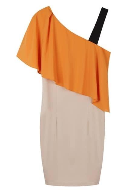 Ruffled Top Contrast Colour  Dress