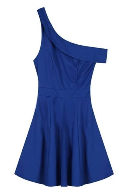 Oblique Shoulder Detailing Blue Dress