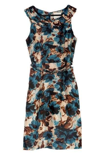 Retro Style Rose Print Vest Dress