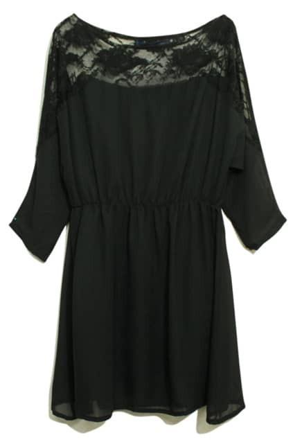 Lace Detailing Cinched Waist Black Dress