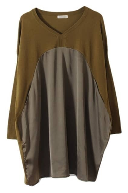 Batwing Sleeves Montage Army-green Dress