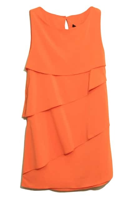 Multi-level Flouncing Sleeveless Orange Dress