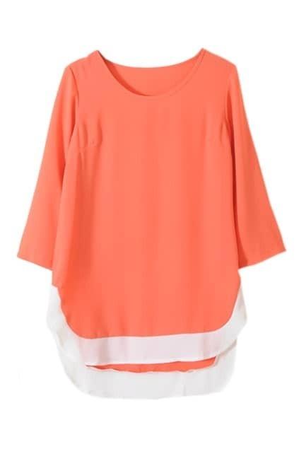 Contrast Color Orange Shift Dress