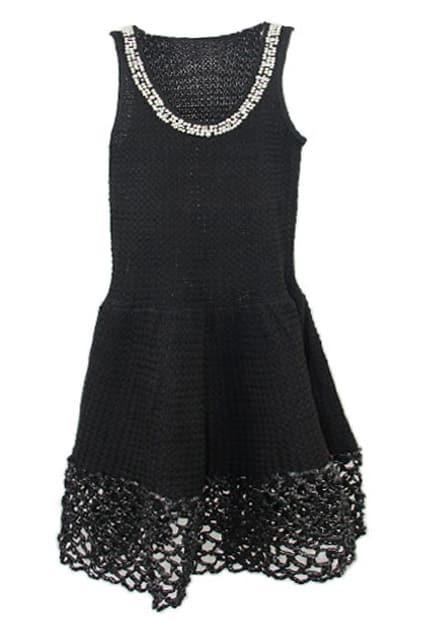 Pearl Decorative Collar Sleeveless Black Dress