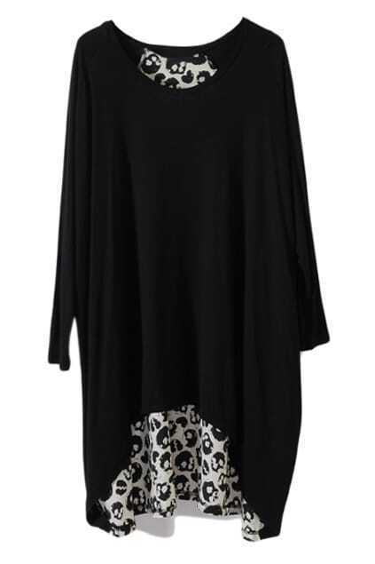White Skull Print Black Shift Dress