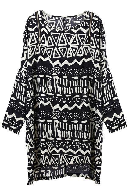 Anomalous Zip Black Shift Dress