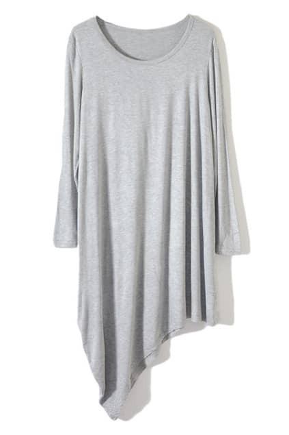 Grey Main Anomalous Dipped Hem Dress