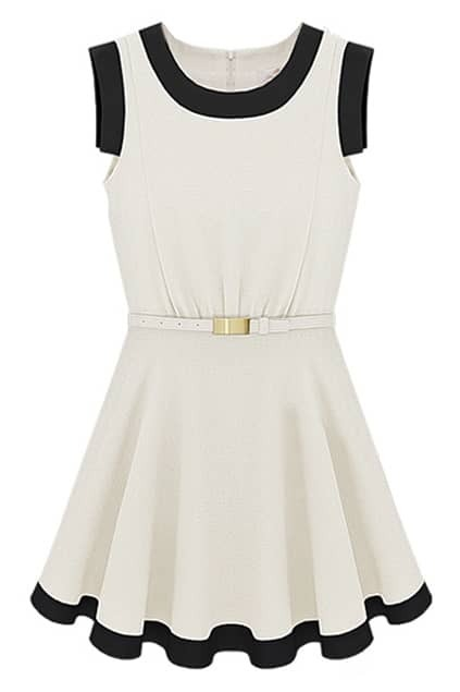 Contrast Hem Sleeveless White Dress