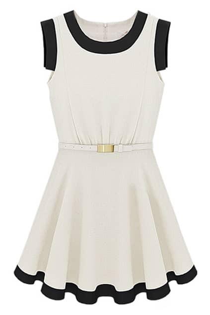 Contrast Hem Sleeveless White Dress