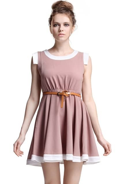 Contrast Hem Sleeveless Khaki Dress