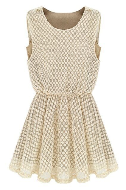 Dots Lace Milky White Dress