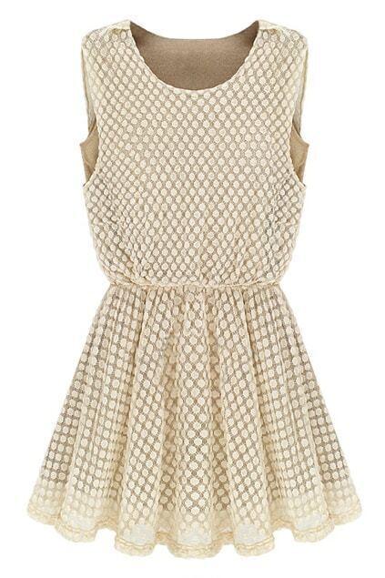 Dots Lace Milky White Dress