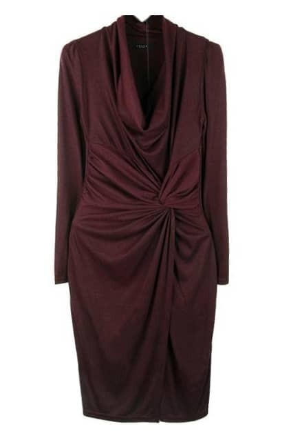Knot Front Claret-red Dress