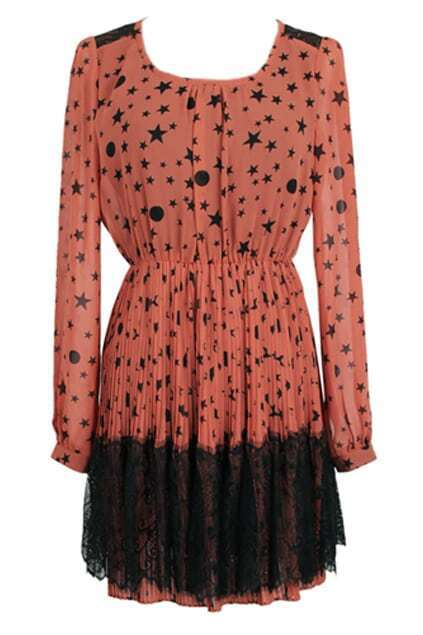 Star Printed Lace Pleats Orange Dress