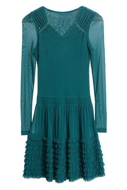 Pleats Falbala Green Dress