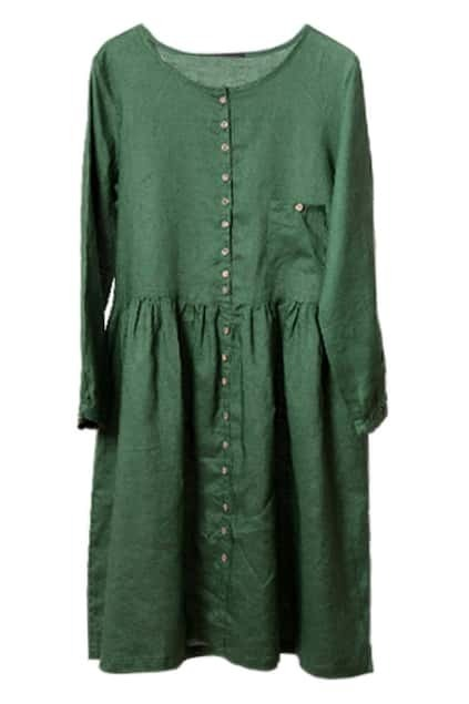 Fresh Style Oversized Green Dress