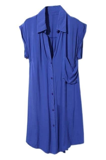 Shirt Style Cotton Royalblue Dress