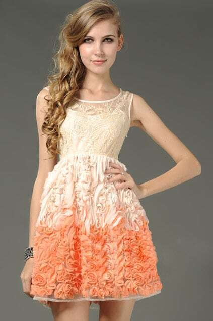 Lace Embroider Two Pieces Orange Dress