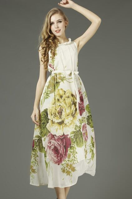 Self-tie Floral White Maxi Dress