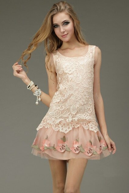 Hollowed Out Embroider Pink Dress