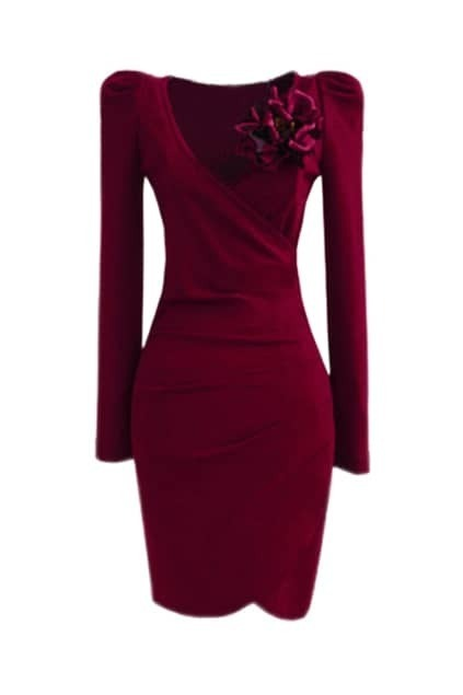 Dark Red Pleats Dress