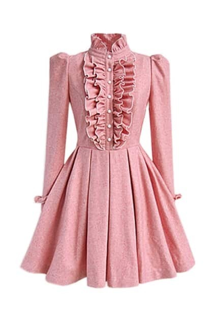 Falbala And Pleats Pink Dress