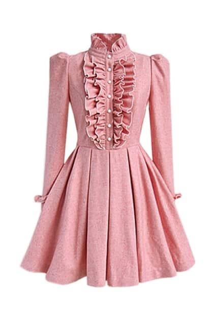 Falbala And Pleats Pink Dress
