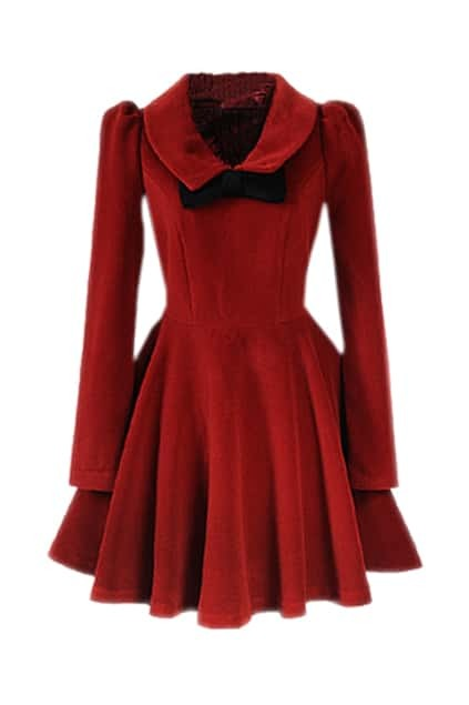 Dark Red Bowknot Pleats Woolen Dress