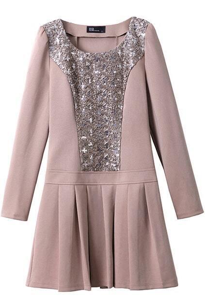 Sequin  Embellishment Khaki Pleated Dress