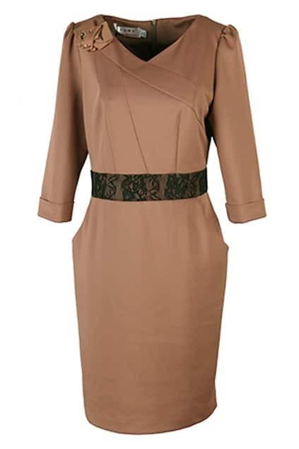 Lace Splicing Camel Shift Dress
