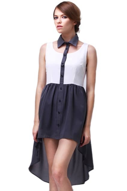 Anomalous Hemline Detachable Collar Dress