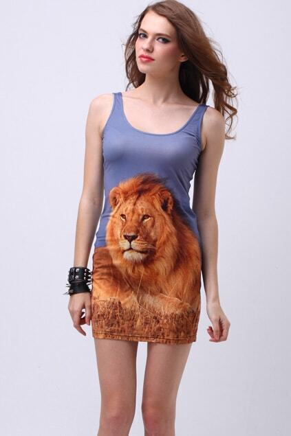 Lion Print Bodycon Dress
