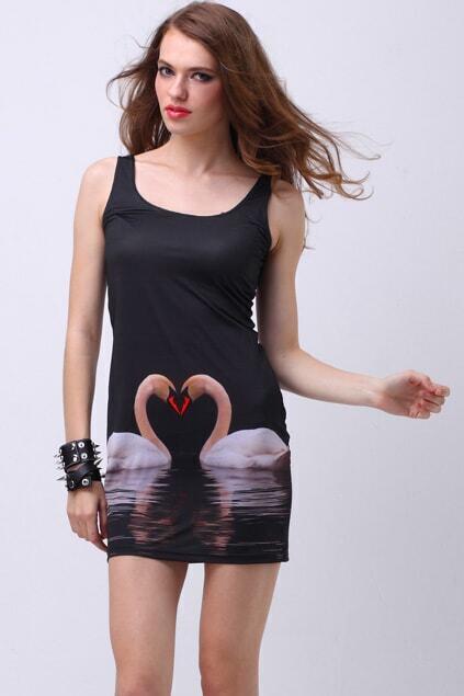 Swan Print Bodycon Dress