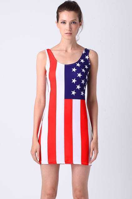 Vertical American Flag Dress