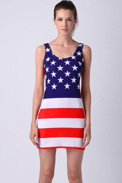 Horizontal American Flag Dress