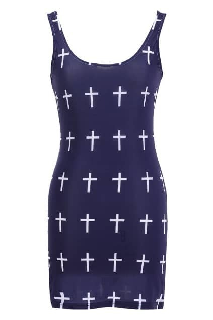 Cross Dark Blue Bodycon Dress