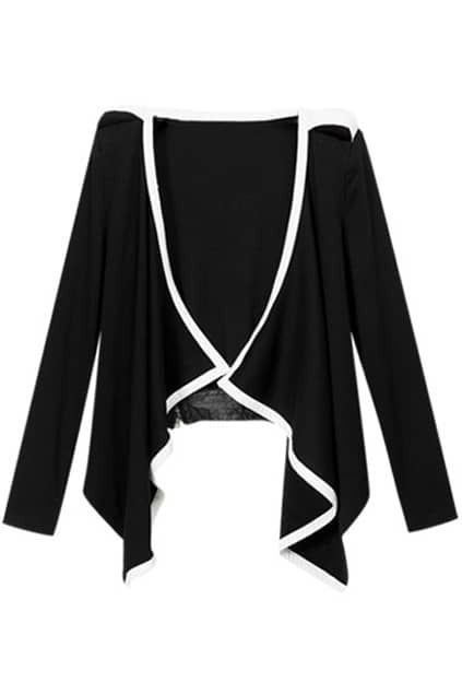 Draped Shrug Shoulder Irregular Black Coat