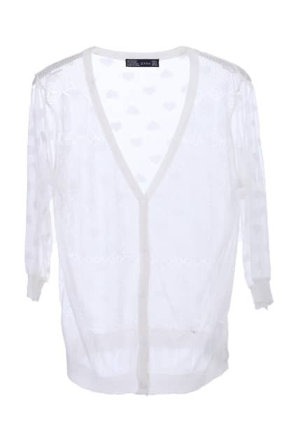 Netted Reverse White Cardigan