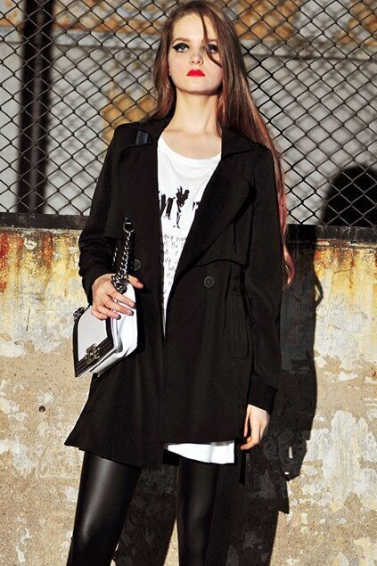 Anomalous Hem Black Trench Coat