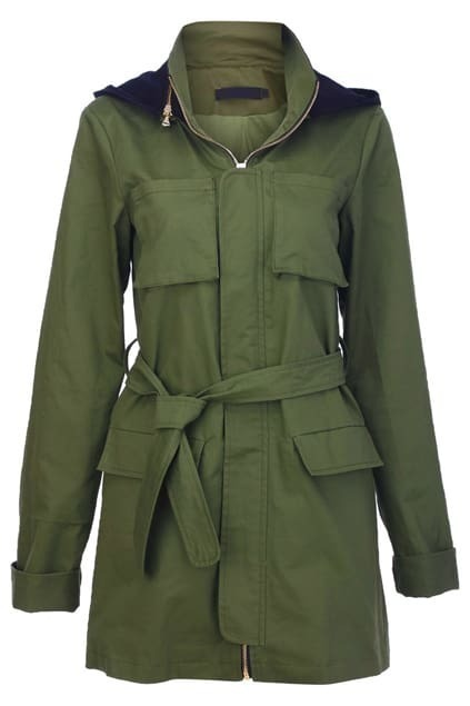Army Green Long Trench Coat