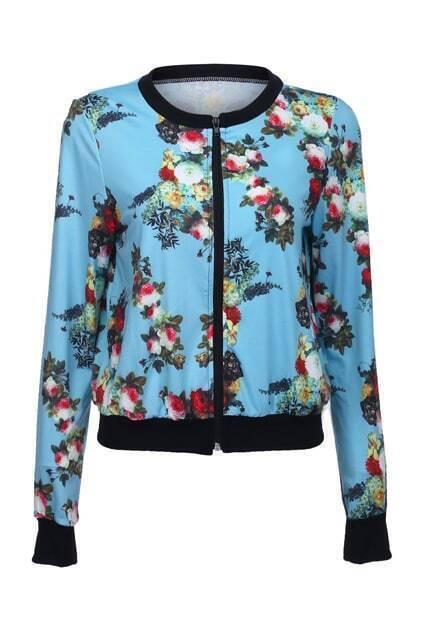 Blue Floral Print Jacket