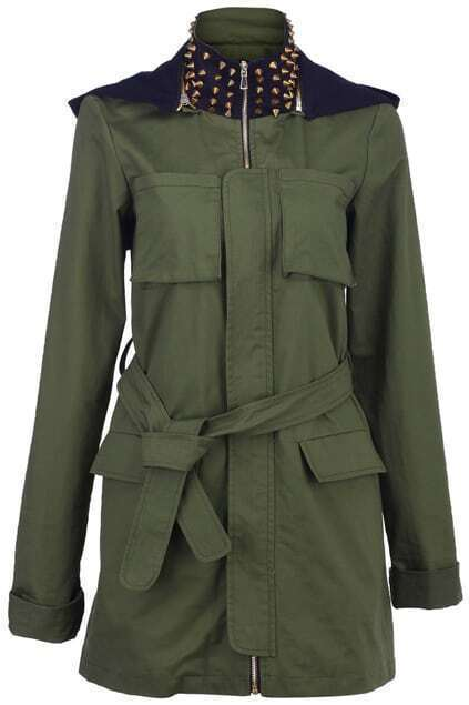 Riveted Collar Army Green Coat