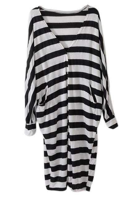 Batwing Sleeves Oversized Striped Black-white Coat