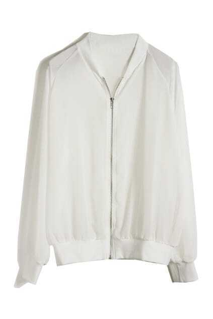 Zip Chiffon Sports White Jacket