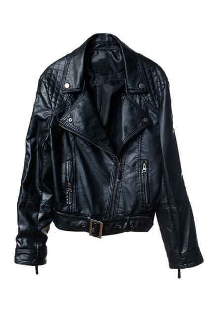 Punk Large Lapel Black Leather Jacket